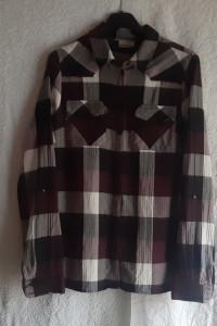 Koszula bawełna w kratę burgund biały Noisy may S...