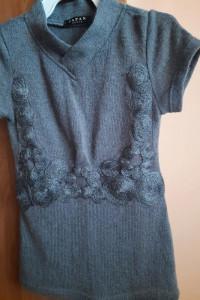 Sweterek z krótkim rękawem szary Japan Style