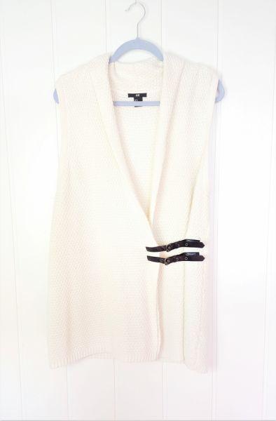 Swetry Biały kremowy kardigan H&M M 38 ryż ryżowy kamizelka sweter ciepły bezrękawnik