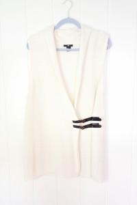 Biały kremowy kardigan H&M M 38 ryż ryżowy kamizelka sweter cie...