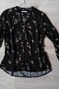 Reserved czarna koszula damska w kwiaty elegancka wizytowa dług...