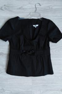 Czarna bluzka elegancka bawełniana kokarda wizytowa 40 L Lime...