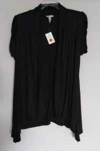 Vixen 38 M czarny kardigan narzutka elegancka wizytowa marszczony rękaw z USA
