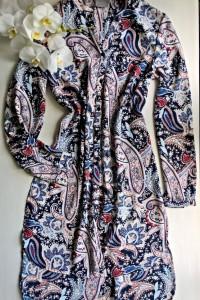 Wzorzysta sukienka tunika szmizjerka S M...
