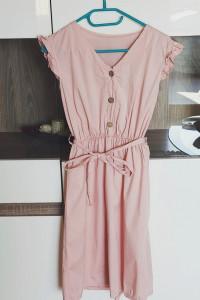 Zwiewna pudrowa sukienka guziki pasek xs s 34 36...