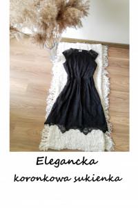 Elegancka koronkowa sukienka XS S czarna basic wesele impreza...