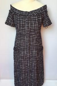 Sukienka Granatowa Zara L 40 Long Długa Kratka...