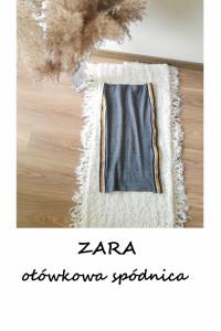 Ołówkowa spódnica ZARA S M wysoki stan w kratkę z lampasami do ...
