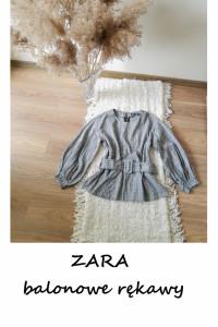 Bluzka ZARA M L z szerokimi rękawami w kratkę z paskiem hit ele...