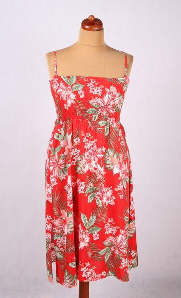 Suknie i sukienki CZERWONA SUKIENKA TUBA W KWIATY LIŚCIE DŻUNGLA 44 46