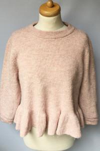 Sweter Róż Falbanka H&M M 38 Baskinka Pudrowy Różowy...