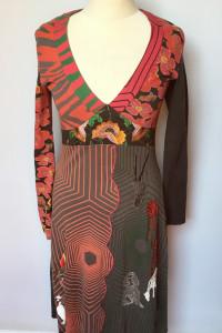 Sukienka Desigual M 38 Wzory Rozkloszowana Kwiaty...