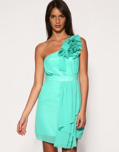 Suknie i sukienki MIĘTOWA SUKIENKA ASOS JEDNO RAMIĘ KWIATY 38