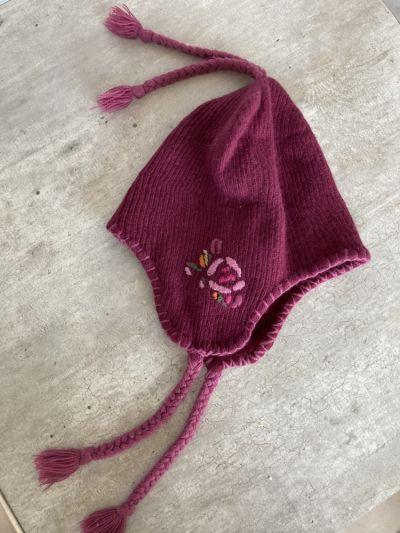Nakrycia głowy Jackpot bordowa czapka uszatka uszanka hafty warkoczyki bez metek