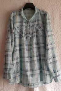 Włoska szeroka bluzka koszulowa jasnoniebieska w kratkę rozmiar...