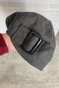 Cache Cache wełniana szara czapka z klamrą