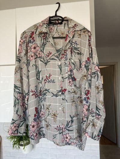 Koszule Zara nowa koszula wzory kwiaty kratka floral oversize rozmiar S nie była noszona