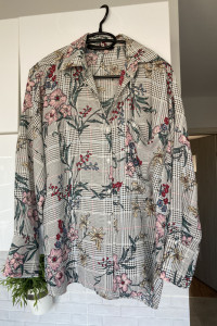 Zara nowa koszula wzory kwiaty kratka floral oversize rozmiar S nie była noszona