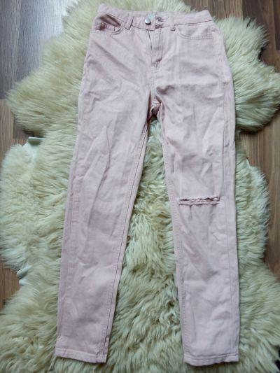 Spodnie spodnie jeansy wysoki stan różowe z dziurami przetarcie xxs xs modne denim co