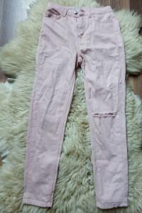 spodnie jeansy wysoki stan różowe z dziurami przetarcie xxs xs ...