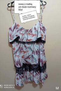 Sukienka uni duże rozmiary na ramiączkach lato kwiaty koronka l...