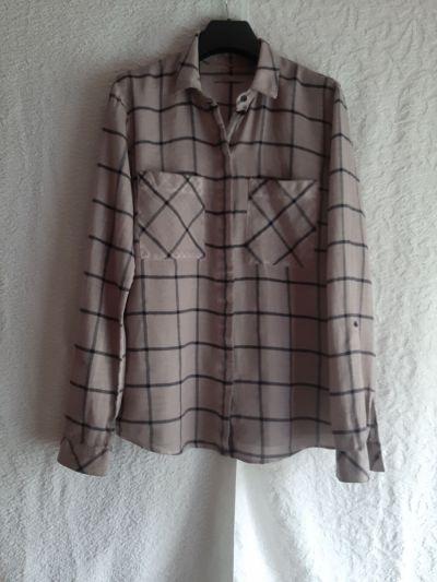 Koszule Bawełniana bluzka koszula jasny brąz kakao w czarną kratę edc rozmiar M