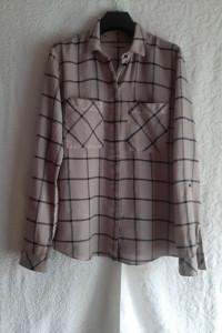 Bawełniana bluzka koszula jasny brąz kakao w czarną kratę edc r...