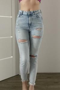 Spodnie jeans wysoki stan dziury rozmiar S Bershka...