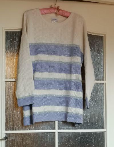 Swetry Nowy duży luźny sweter w pasy ecru fiolet srebro