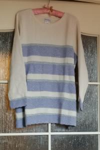 Nowy duży luźny sweter w pasy ecru fiolet srebro