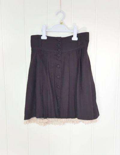 Spódnice Czarna mini spódnica H&M 38 M plisowana krótka retro vintage koronka biała goth dark