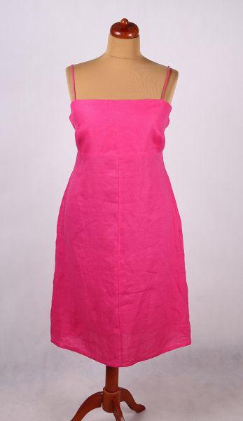 Suknie i sukienki LNIANA SUKIENKA RÓŻOWA Z ODKRYTYMI PLECAMI LATO 44 46