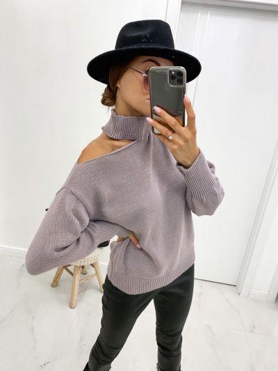 Swetry Nowy sweter wrzosowy z chokerem uniwersalny