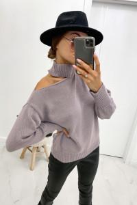 Nowy sweter wrzosowy z chokerem uniwersalny