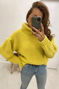 Nowy sweter oversize z bufiastymi rękawami splot warkocz żółty