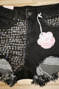 Spodenki jeansowe szorty ćwieki dziury szarpane...