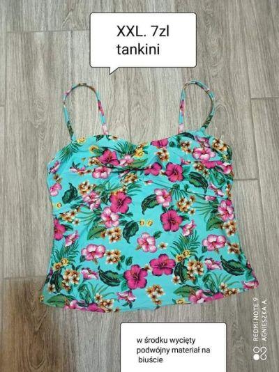 Stroje kąpielowe Tankini XXL bluzka koszulka kąpielowa kwiaty