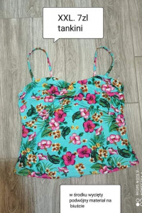Tankini XXL bluzka koszulka kąpielowa kwiaty