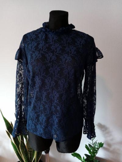 Bluzki Koronkowa bluzka falbanki