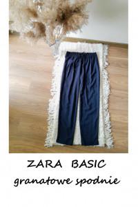 Granatowe spodnie ZARA BASIC M do kostek chinosy z wiązaniem pa...