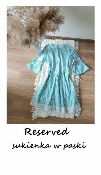 Suknie i sukienki Reserved sukienka w paski 42 44 szerokie rękawy koronka