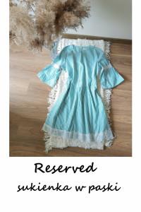 Reserved sukienka w paski 42 44 szerokie rękawy koronka...