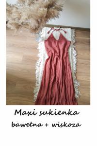 Długa letnia sukienka L XL vintage bawełna wiskoza lato ciążowa...