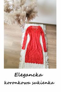 Imprezowa koronkowa czerwona sukienka XXS XS S elegancka na wesele