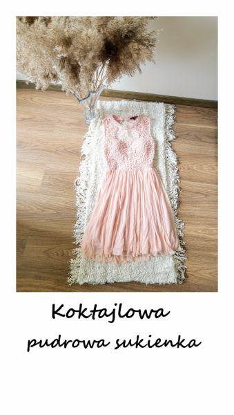 Suknie i sukienki Pudrowa różowa sukienka z koronką tiulem XS S Tally Weijl wesele impreza