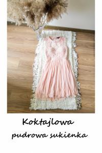 Pudrowa różowa sukienka z koronką tiulem XS S Tally Weijl wesele impreza