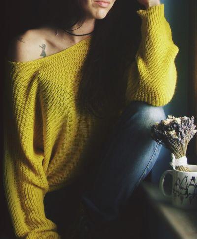 Swetry Cienki żółty sweterek oversize