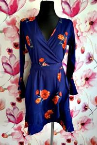 influence sukienka chabrowa modny wzór kwiaty nowa 38...