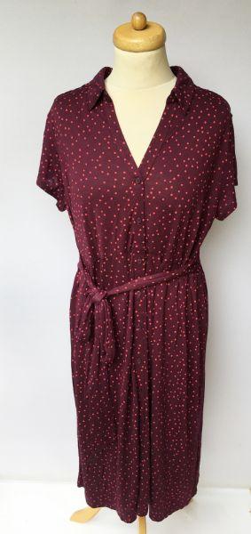 Suknie i sukienki Sukienka Ciążowa H&M Mama XL 42 Bordowa Kropki Groszki