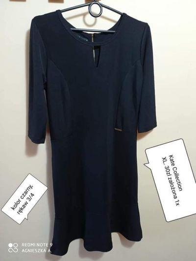 Suknie i sukienki Sukienka xl elegancka wizytowa czarna dekolt łezka z tyłu zip